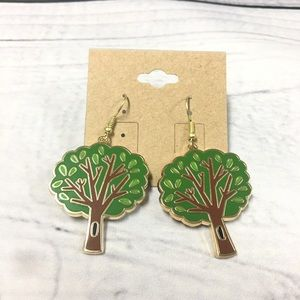 Gold plated tree earrings